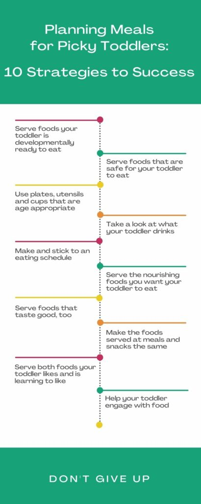 Infographic with 10 strategies to use when planning a meal for a picky toddler