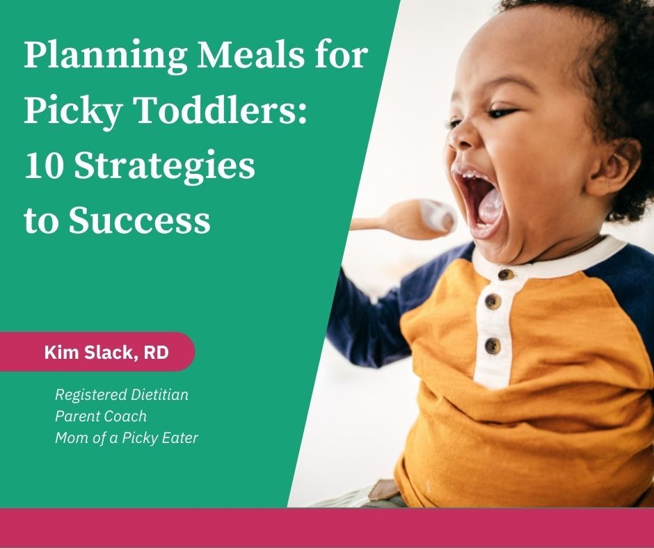 Toddler bringing spoon toward mouth with the words Planning Meals for Toddlers: 10 Strategies to Success